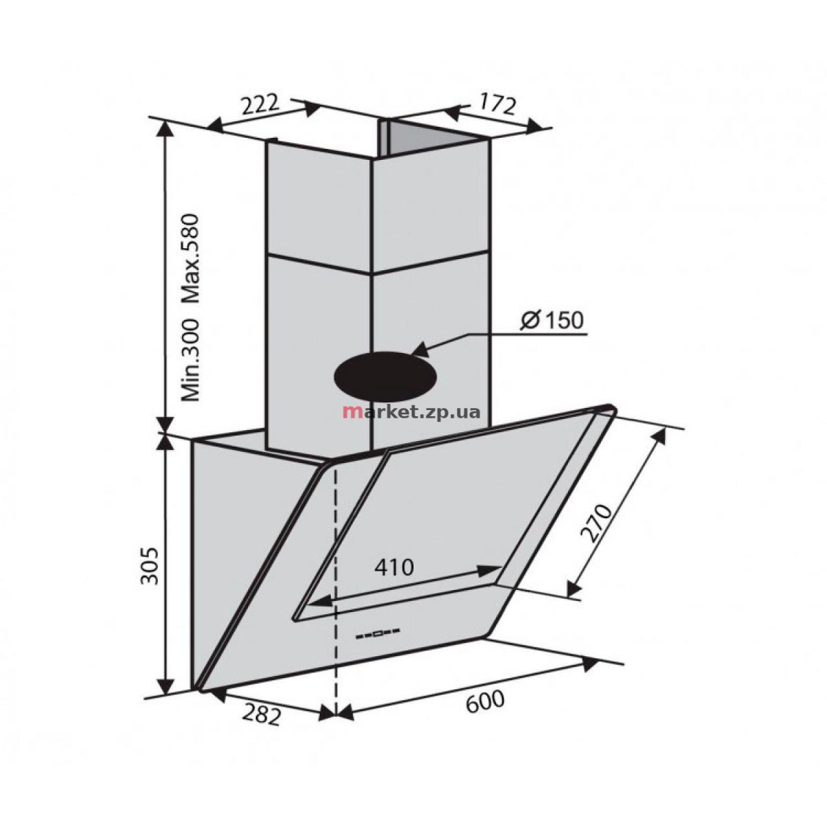 Вытяжка VENTOLUX DIAMOND 60 BK (700) PB