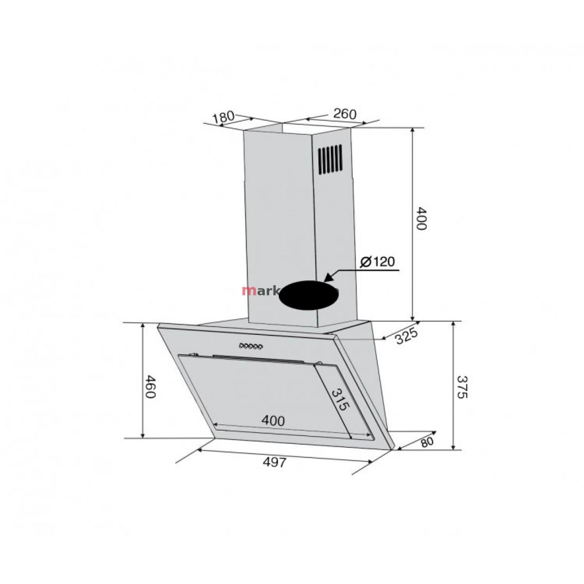 Вытяжка VENTOLUX FIORE 50 WH (750) PB белое стекло