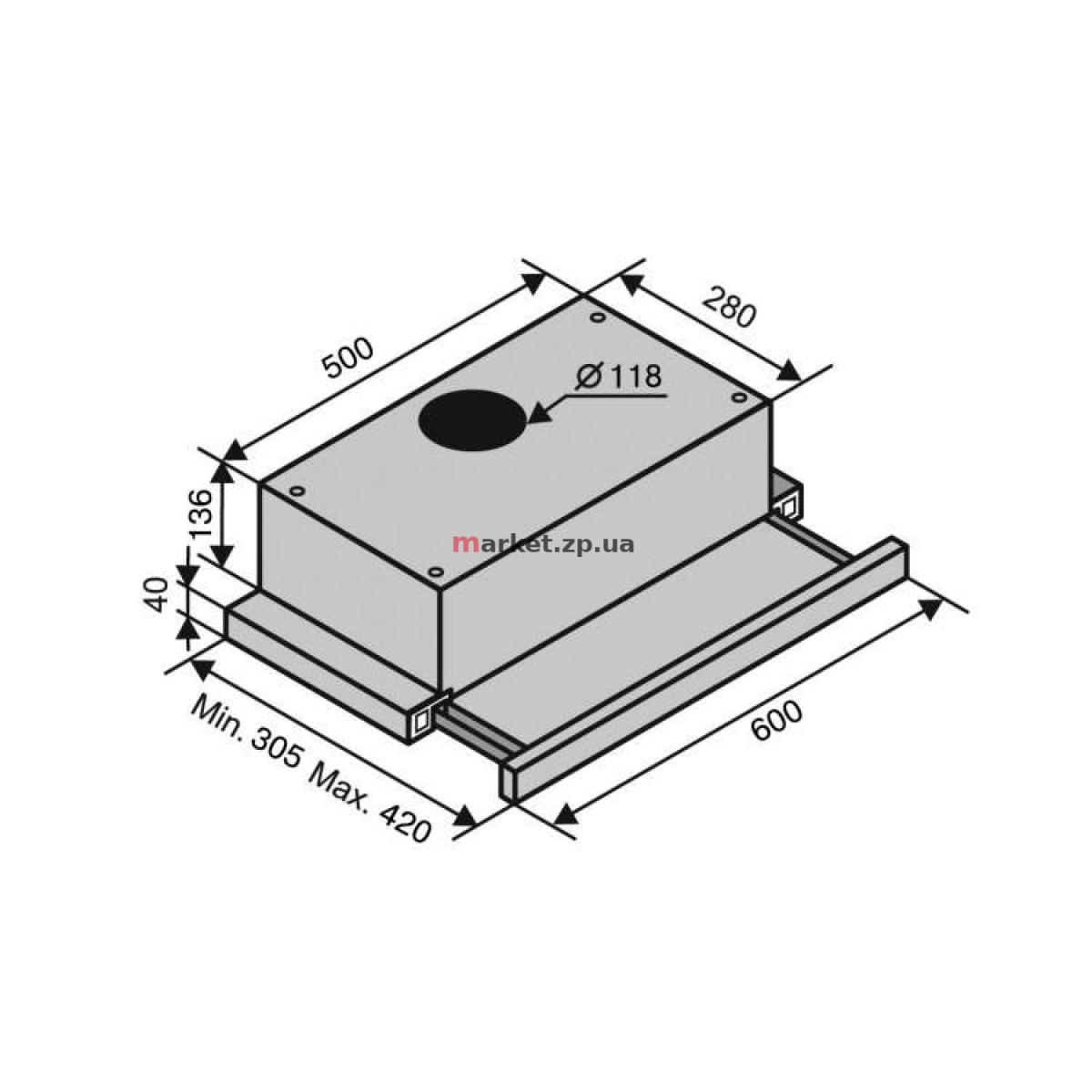 Вытяжка VENTOLUX GARDA 60 INOX (700) SLIM