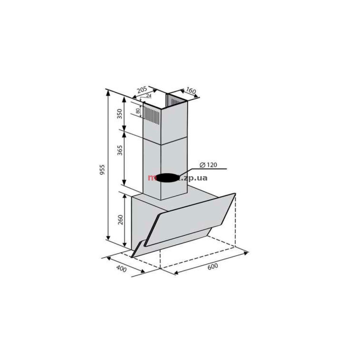 Вытяжка VENTOLUX RIMINI 60 BK (450) PB SL