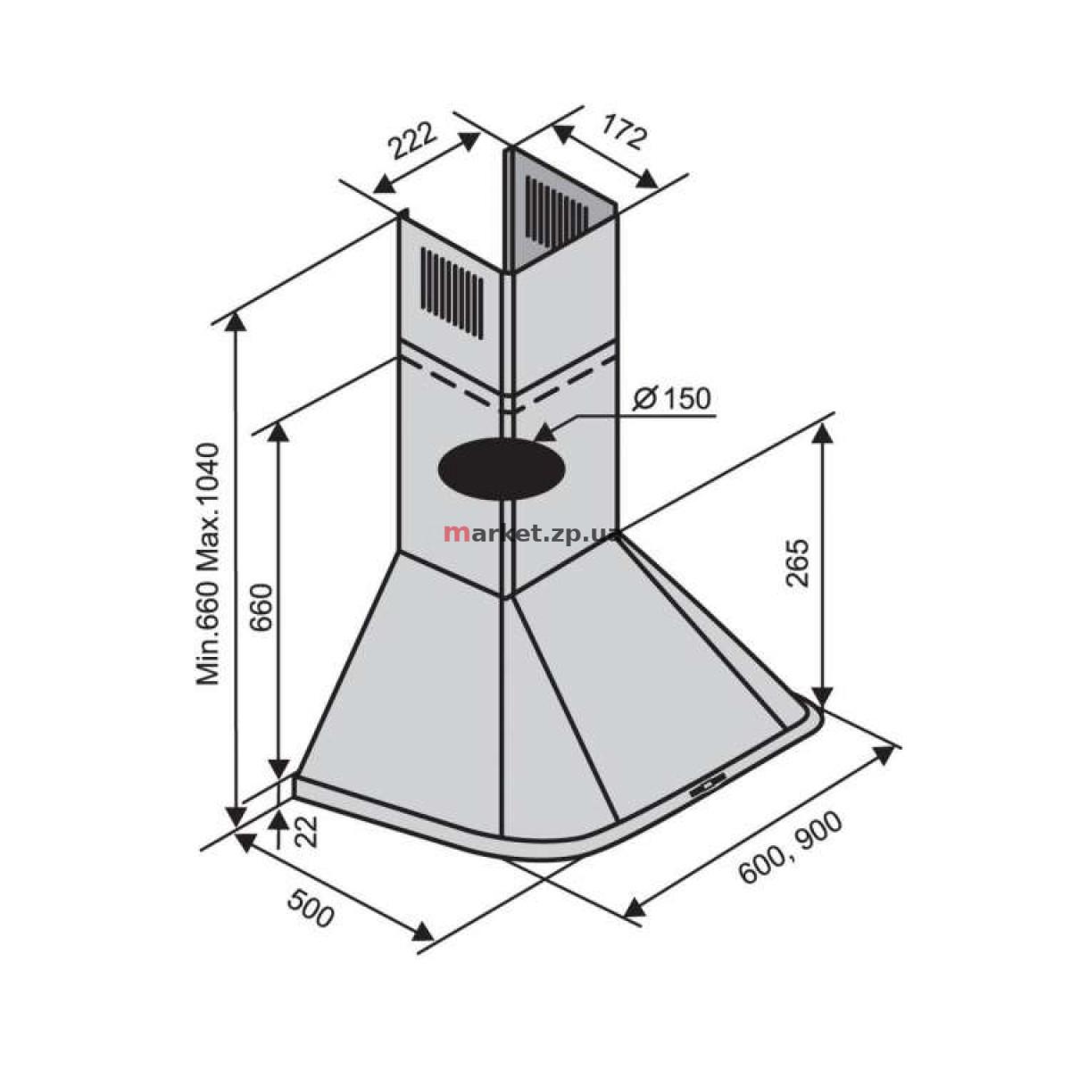 Вытяжка VENTOLUX MONACO 60 INOX (800)