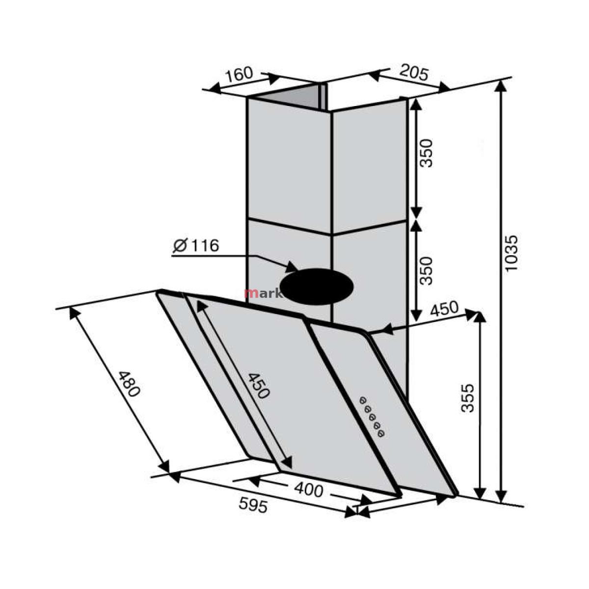 Вытяжка VENTOLUX NAPOLI 60 BGX (750) PB