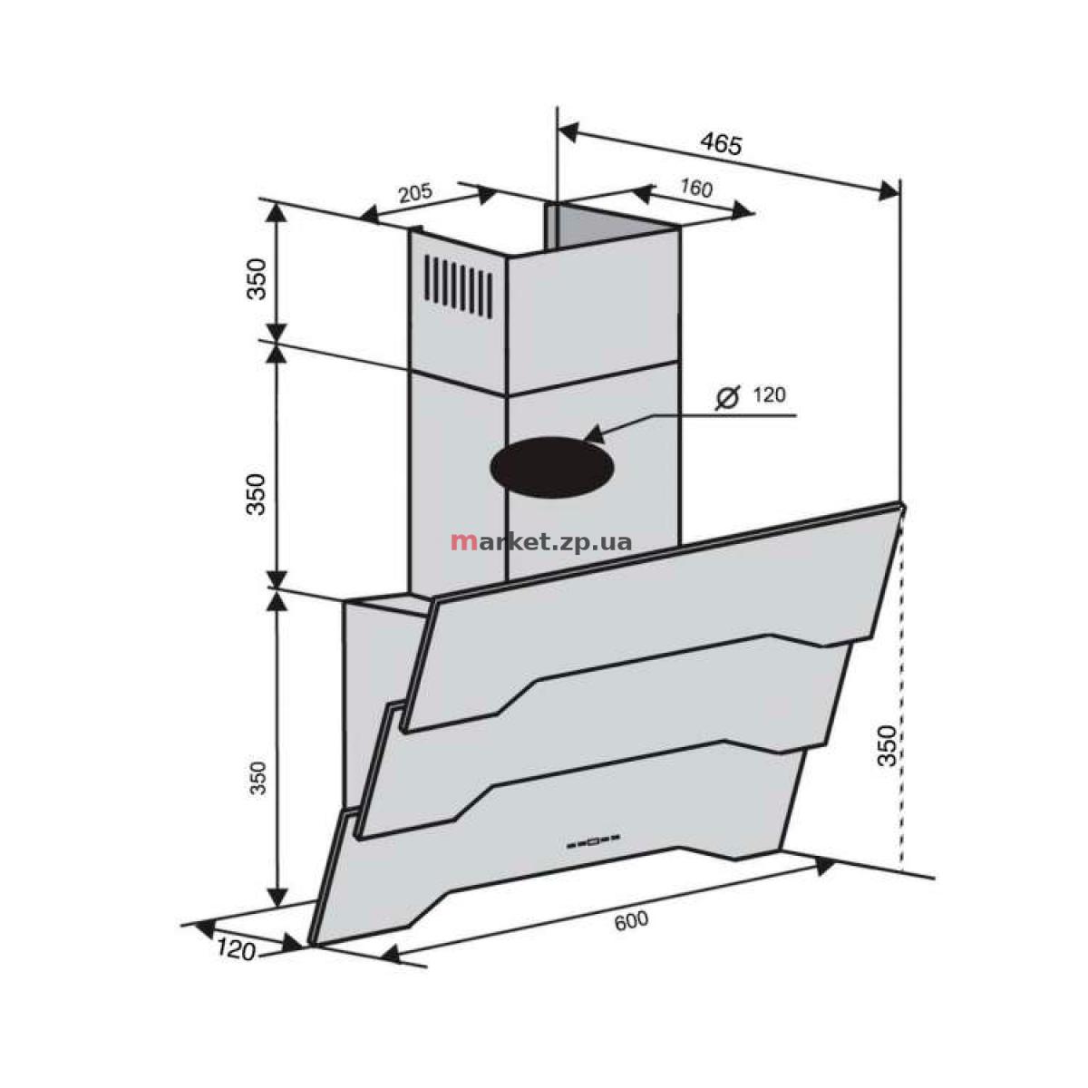 Вытяжка VENTOLUX PIEMONTE 60 BK (750) TRC