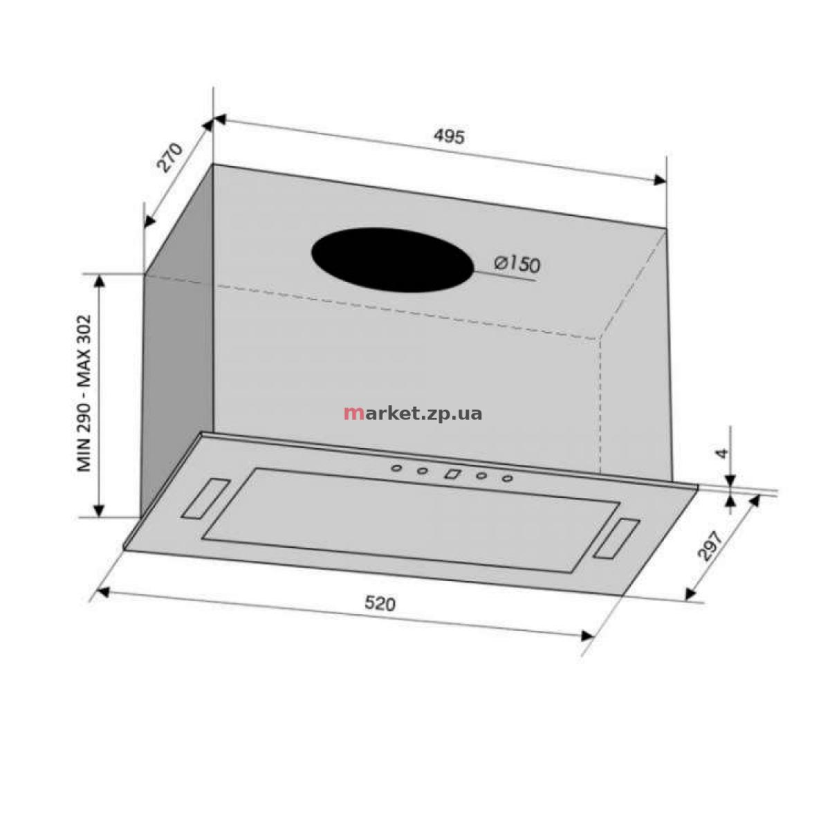 Вытяжка встраиваемая VENTOLUX PUNTO 52 BG (700) PB