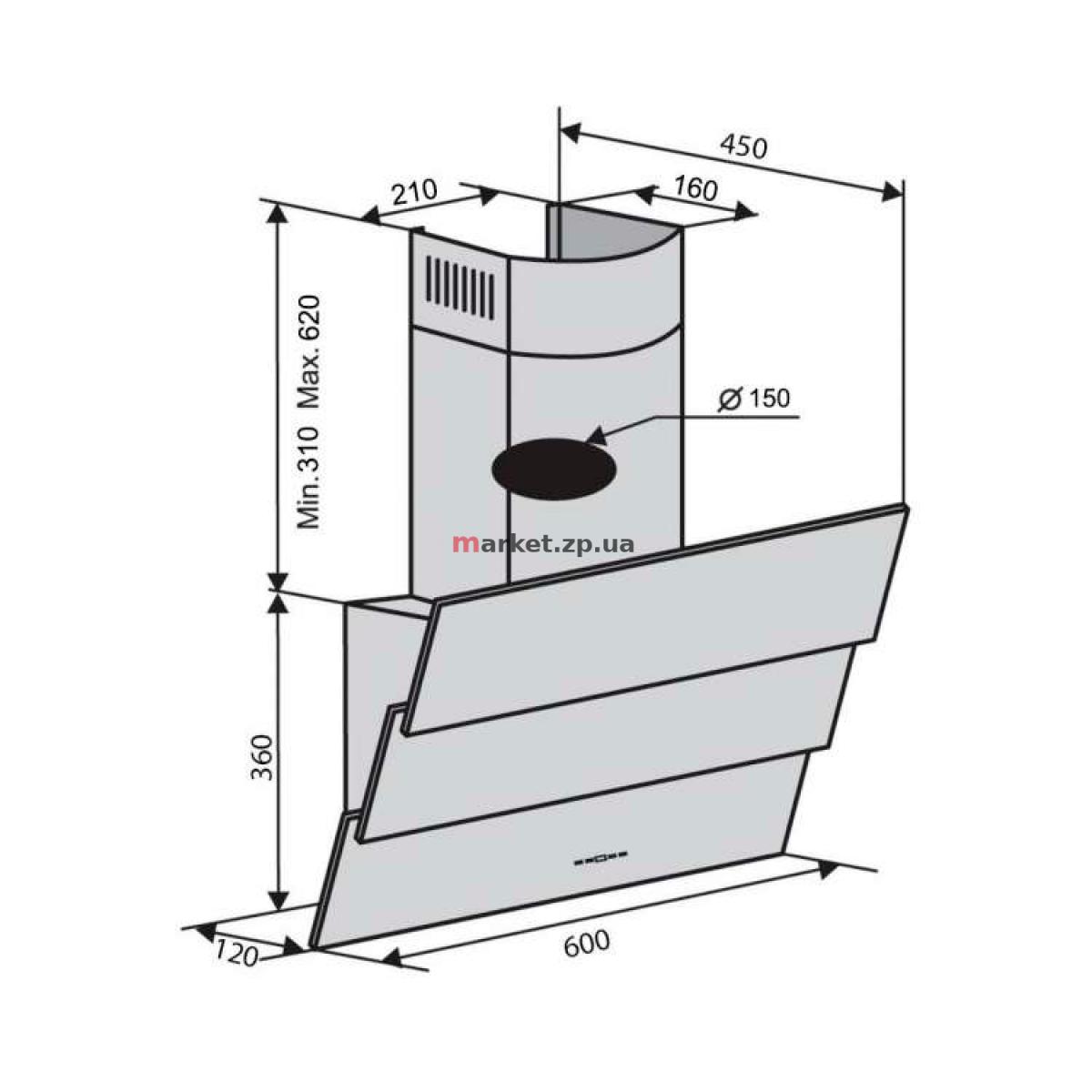 Вытяжка VENTOLUX  RIALTO 60 WH (750) TRC