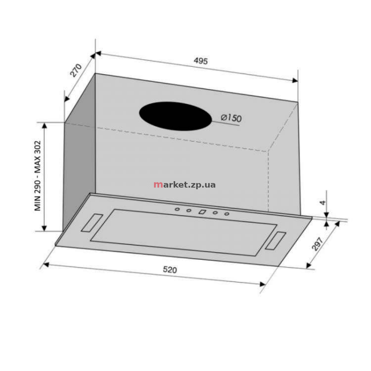 Вытяжка VENTOLUX PUNTO 52 BG (900) TRC