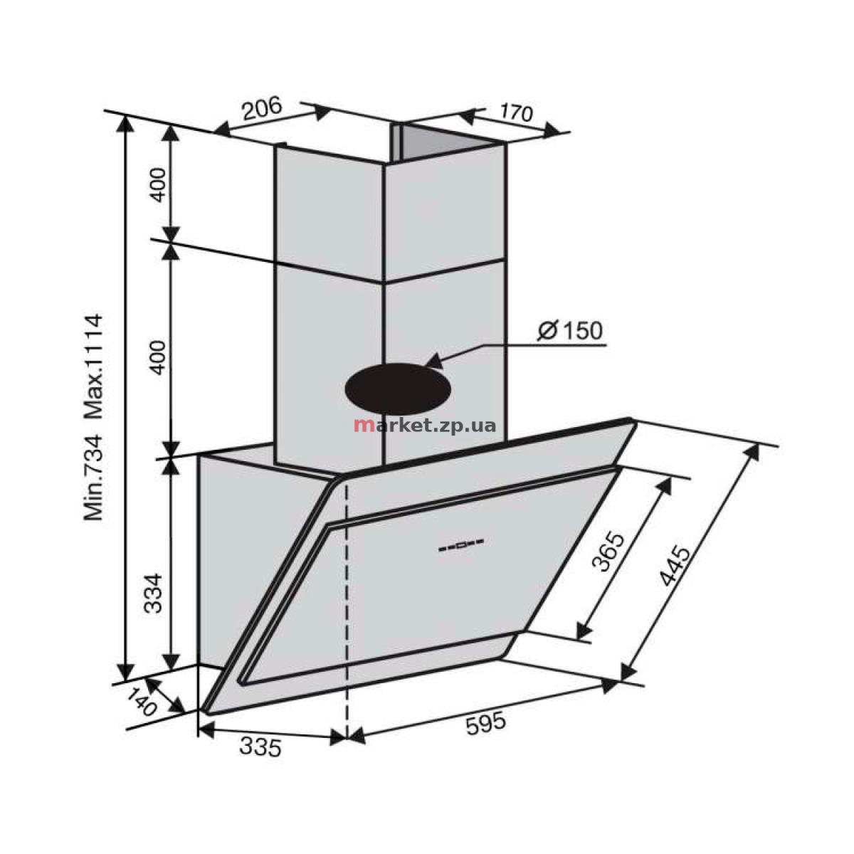 Вытяжка VENTOLUX TOSCANA 60 BK (1000) TRC MM