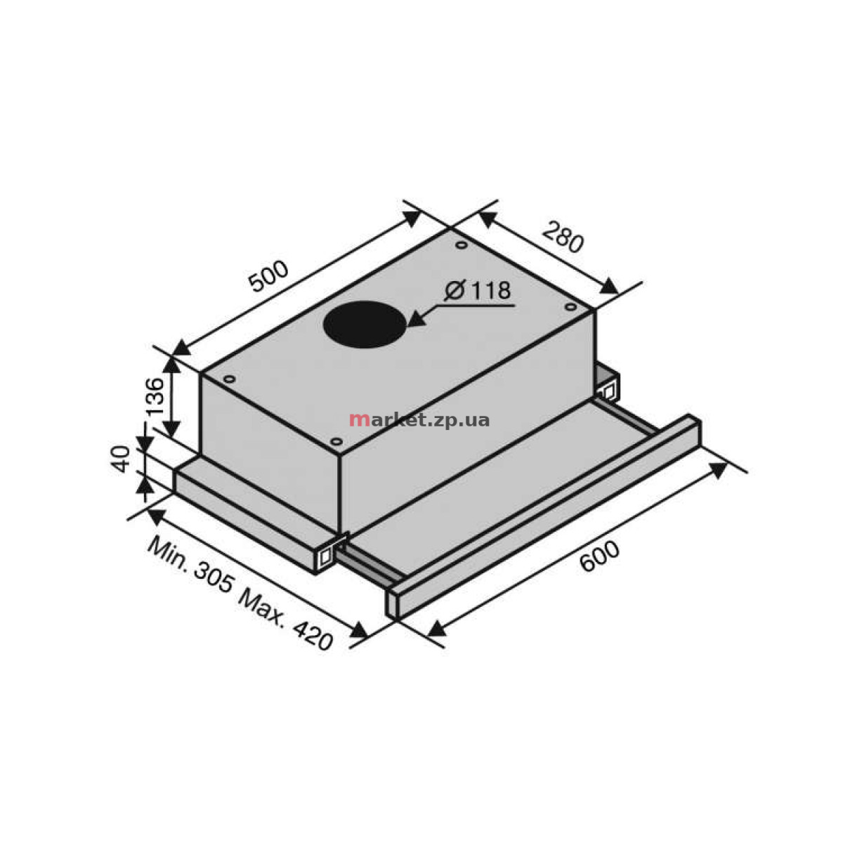 Вытяжка VENTOLUX GARDA 60 MX (700) SLIM