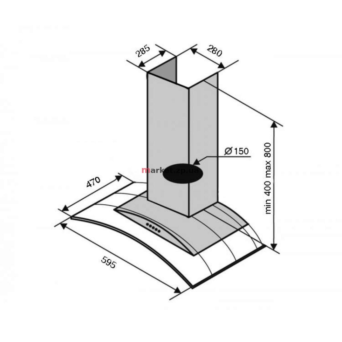 Вытяжка VENTOLUX FERRARA 60 INOX (1000) PB