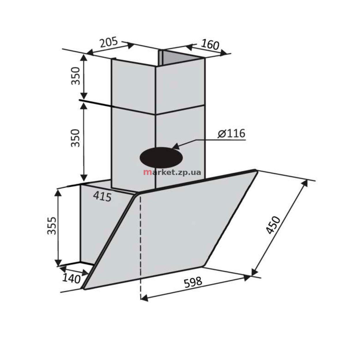 Вытяжка VENTOLUX MODENA 60 BG/X (650) PB