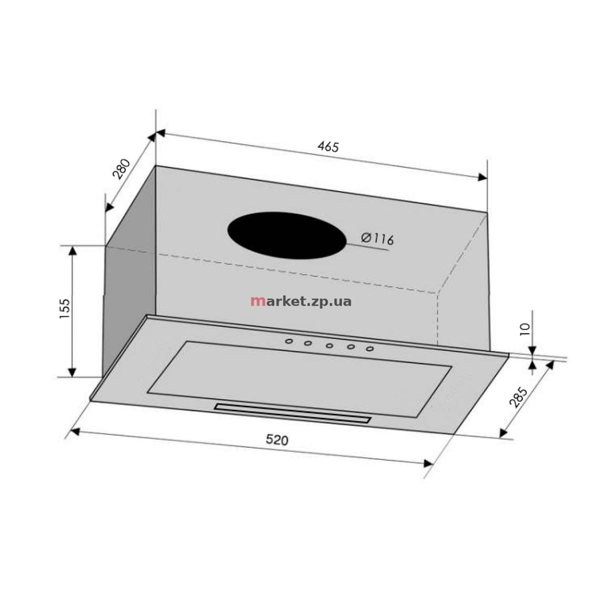 Вытяжка VENTOLUX BOX 60 BK (650) PB