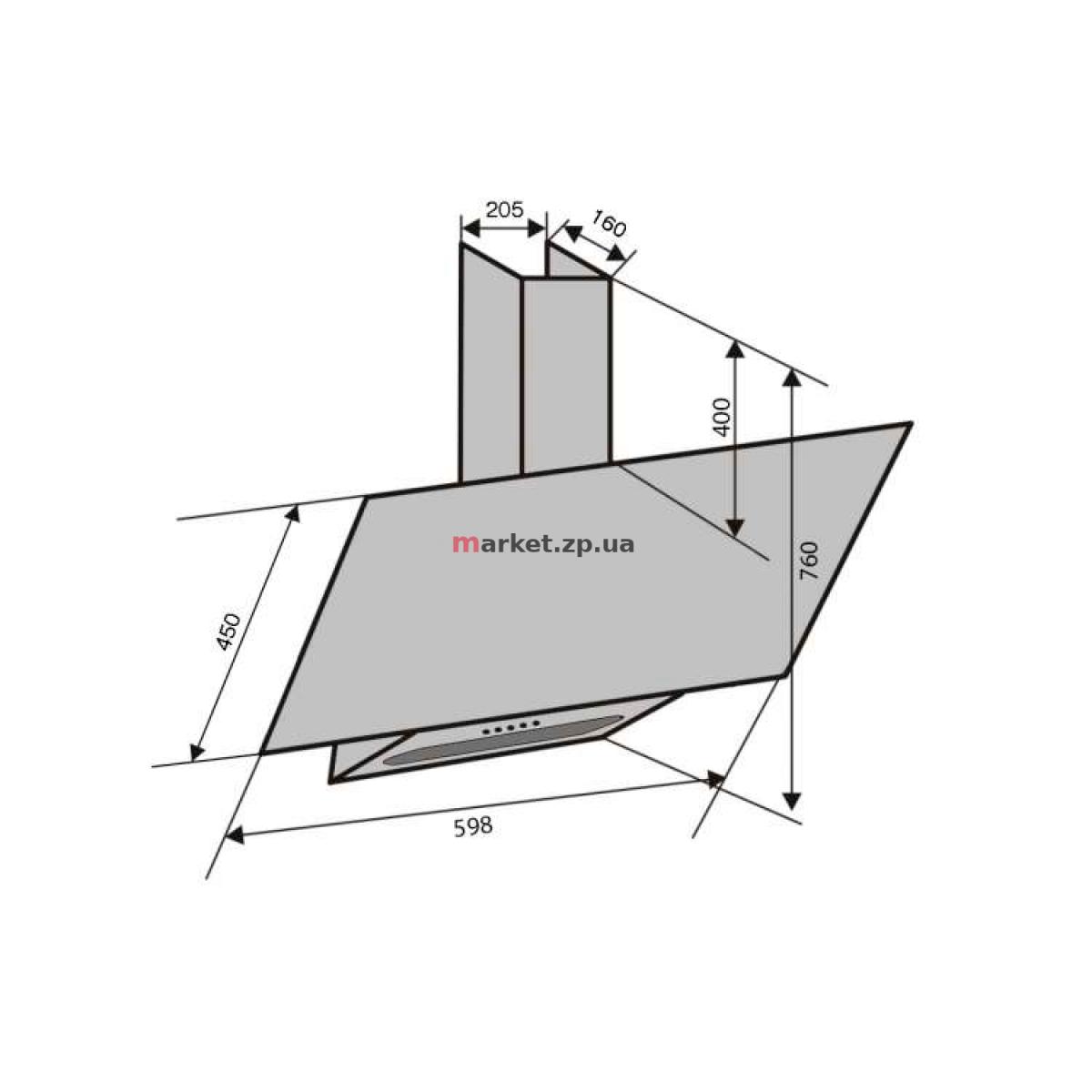 Вытяжка VENTOLUX  MIRROR 60 BK (1200) PB IT