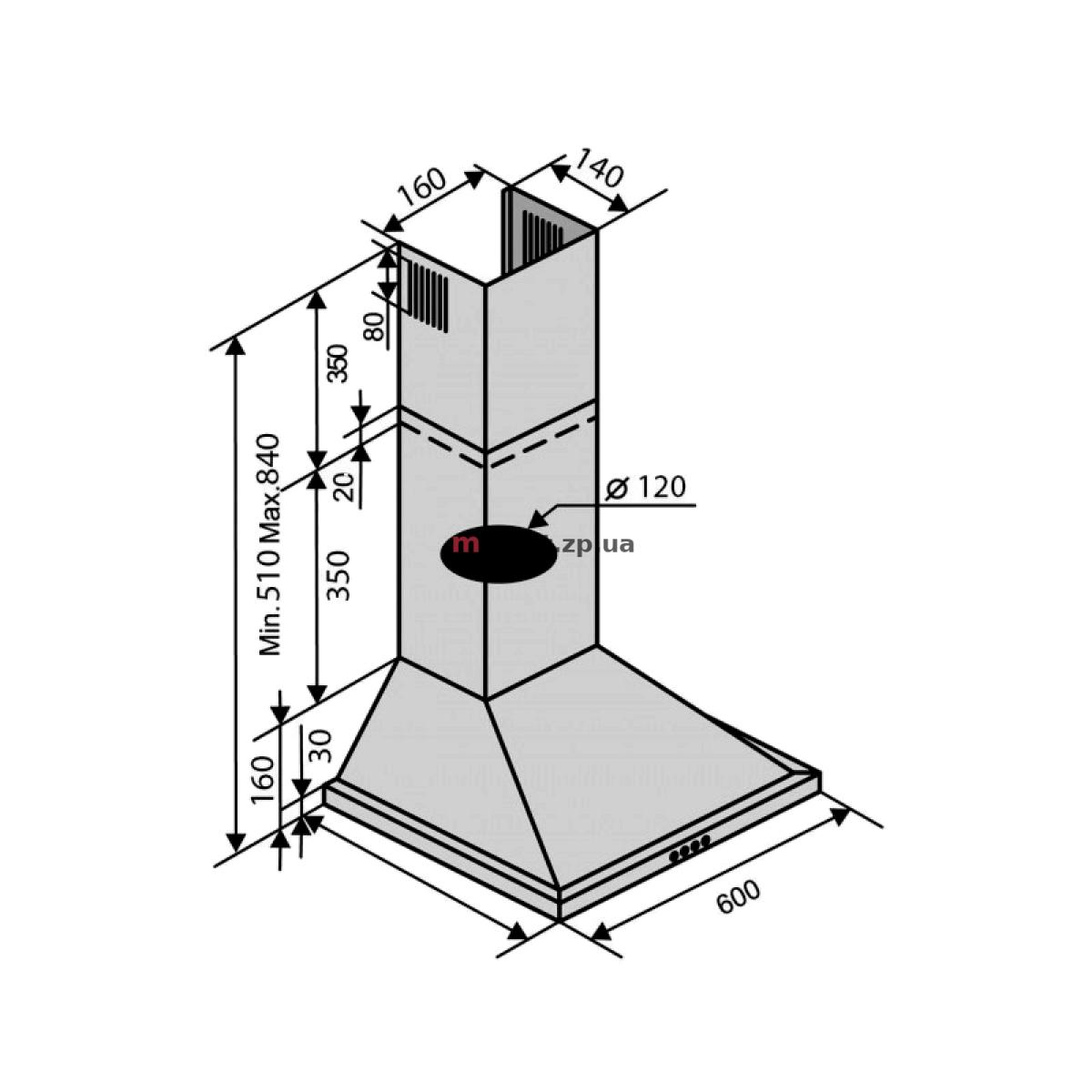 Вытяжка VENTOLUX LIDO 60 INOX (450)