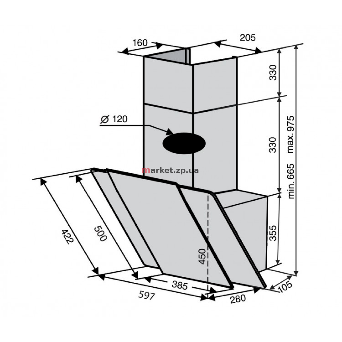 Вытяжка VENTOLUX TORINO 60 BG/X (750) PB