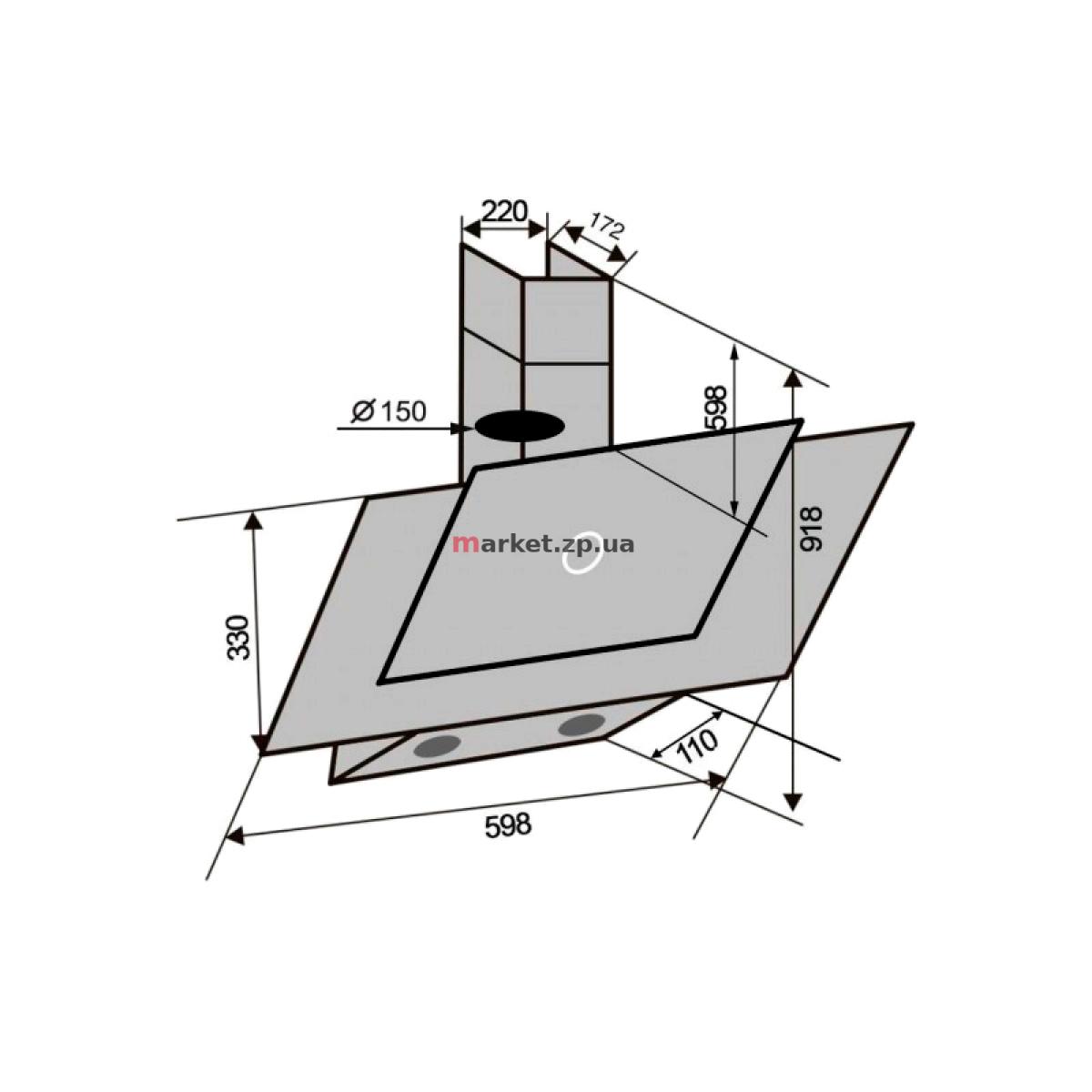 Вытяжка VENTOLUX DIAMOND 60 BK (750) TC