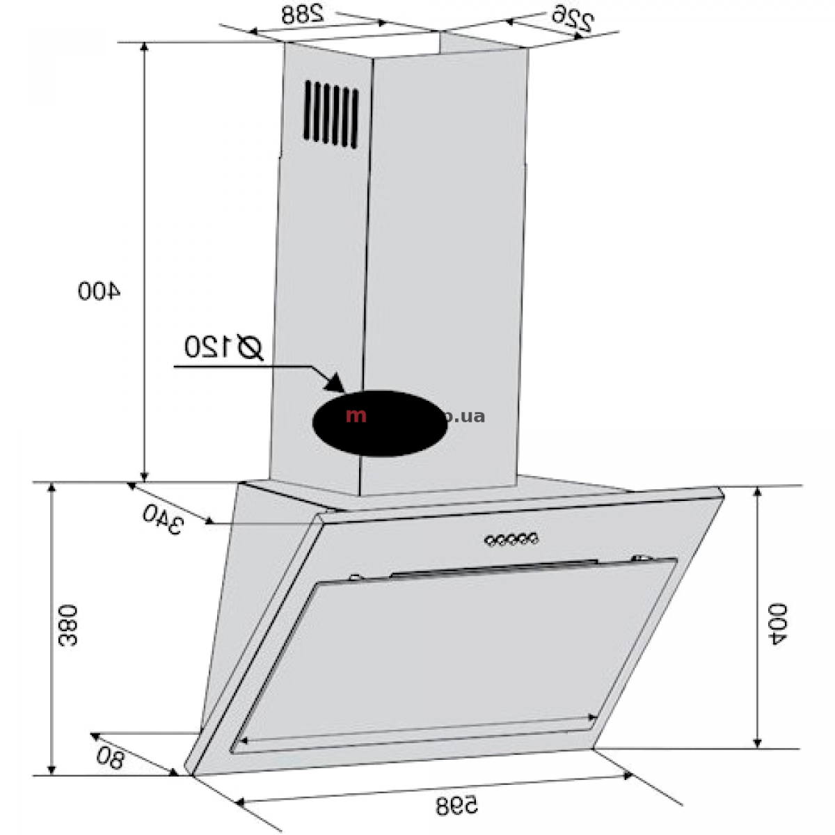 Вытяжка VENTOLUX FIORE 60 WH (750) PB белое стекло