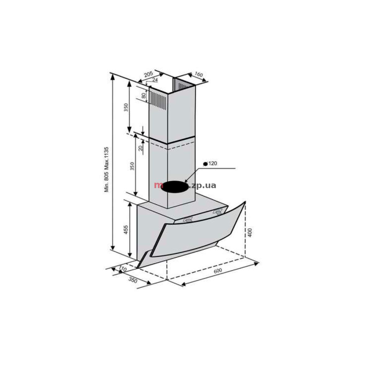 Вытяжка VENTOLUX WAVE 60 WH (750) TRC белое стекло