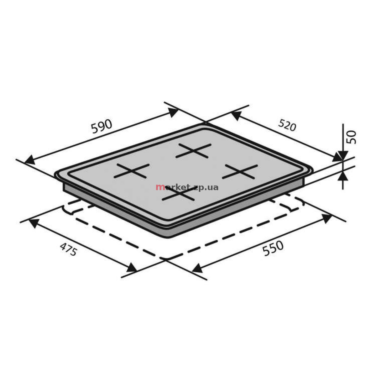 Поверхность газовая VENTOLUX HSF640-N3G CEST (BK) 3