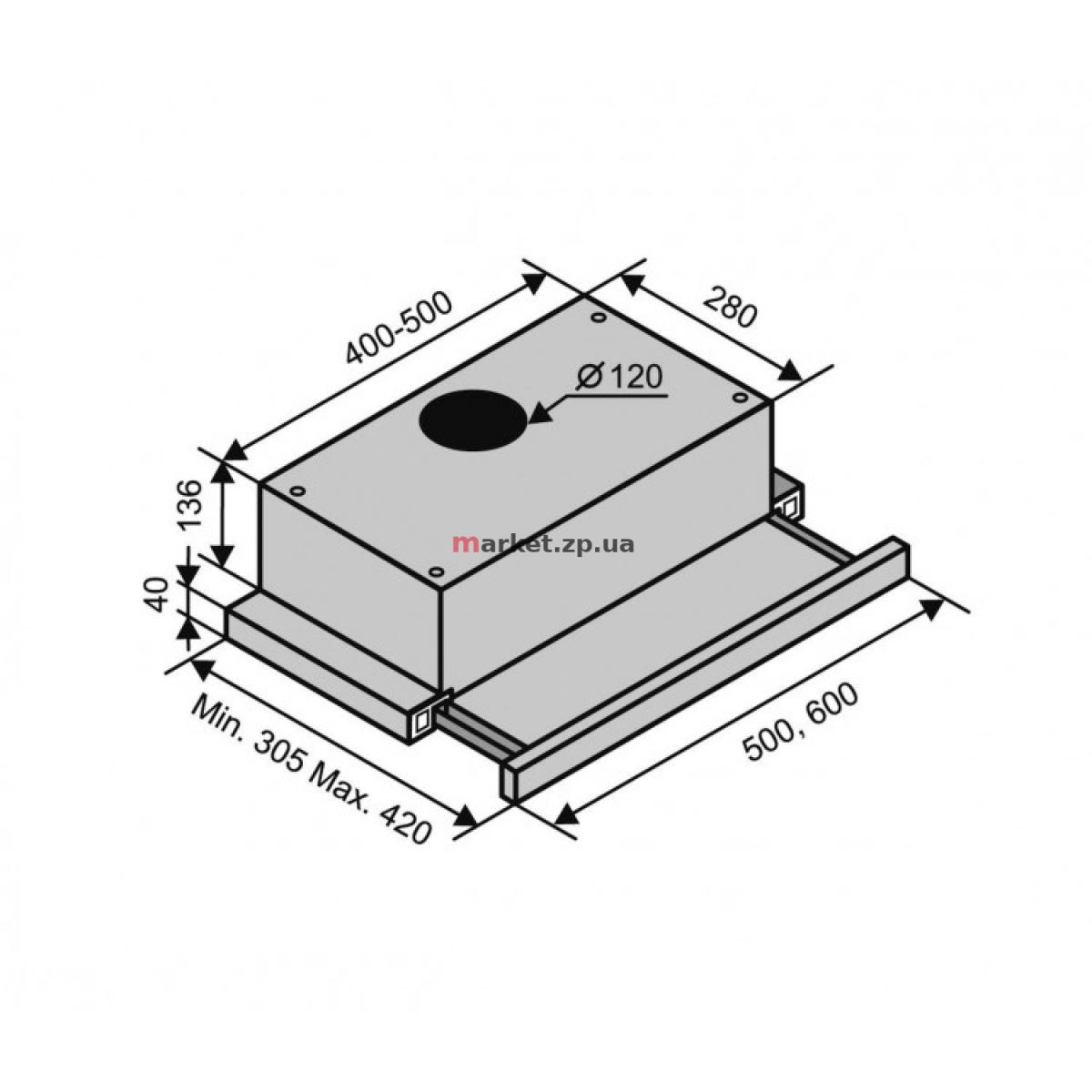 Вытяжка VENTOLUX GARDA 50 INOX (450)