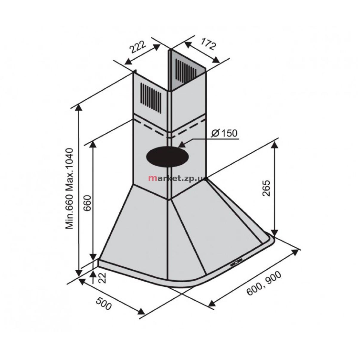 Вытяжка VENTOLUX MONACO 60 WH (800)