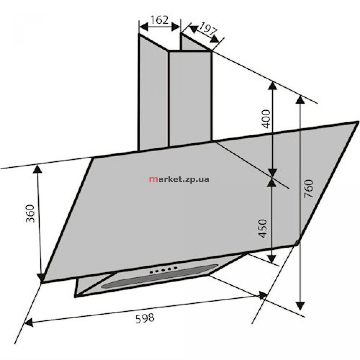 Вытяжка VENTOLUX MIRROR 60 IVORY (750) PB крем. стекло